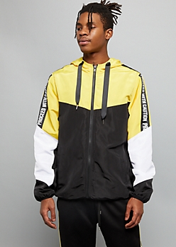 Yellow Colorblock Caution Striped Graphic Windbreaker