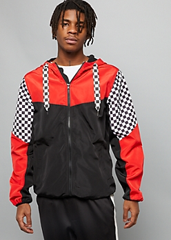 Red Checkered Print Colorblock Lined Windbreaker