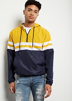Yellow Striped Colorblock Half Zip Windbreaker