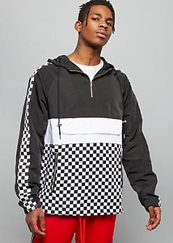 Checkered Print Colorblock Striped Windbreaker