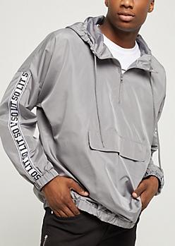 Gray So Lit Pullover Windbreaker