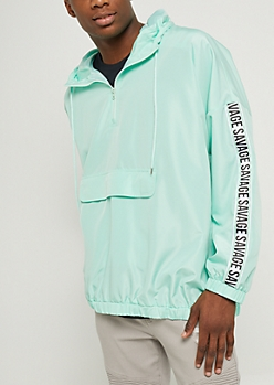Mint Savage Pullover Windbreaker