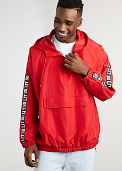 Red So Lit Pullover Windbreaker