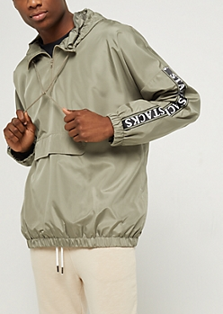 Olive Stacks Pullover Windbreaker