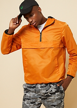 Orange Contrast Trim Nylon Packable Windbreaker