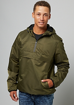 Olive Contrast Trim Nylon Packable Windbreaker
