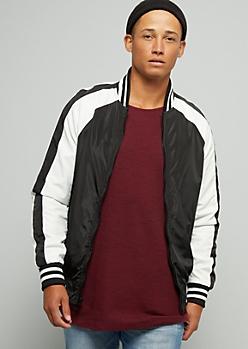 Black Striped Sleeve Bomber Jacket
