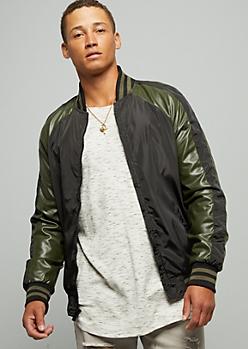 Dark Olive Striped Sleeve Bomber Jacket