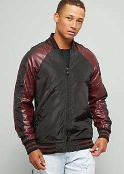 Burgundy Striped Sleeve Bomber Jacket