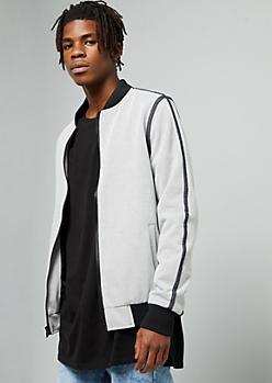 Light Gray Side Striped Knit Bomber Jacket