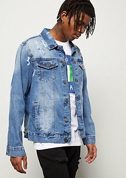e69a06e2092e5 Medium Wash Distressed Button Down Jean Jacket