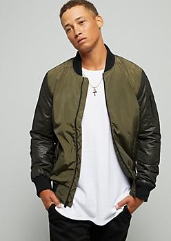 Olive Mesh Sleeve Bomber Jacket