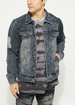 Black Vintage Wash Destroyed Jean Jacket