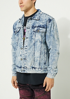 Blue Vintage Wash Destroyed Jean Jacket