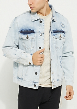 Light Blue Vintage Wash Destroyed Jean Jacket