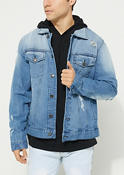 Medium Blue Vintage Wash Destroyed Jean Jacket