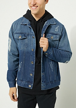 Dark Blue Vintage Wash Destroyed Jean Jacket