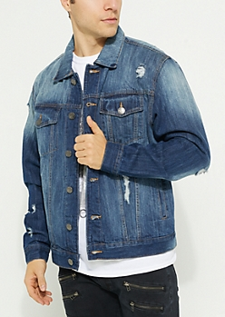 Denim Blue Vintage Wash Destroyed Jean Jacket