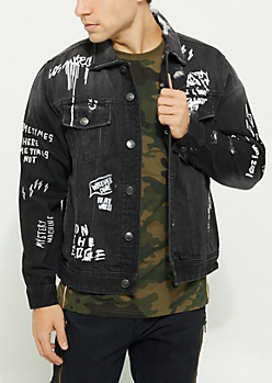 Black Doodles Distressed Jean Jacket