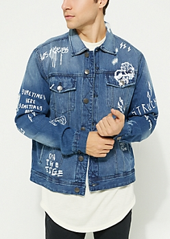 Medium Blue Doodles Distressed Jean Jacket