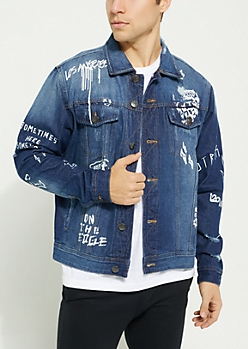 Denim Doodles Distressed Jean Jacket