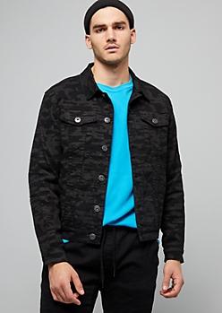 Black Camo Print Moto Jean Jacket