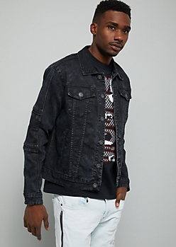 Black Acid Wash Moto Jean Jacket