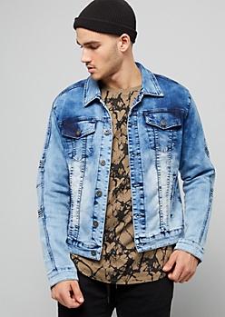 Medium Acid Wash Moto Jean Jacket