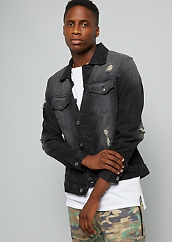Black Sandblasted Distressed Denim Jacket