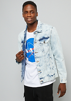 Light Acid Wash Distressed Denim Jacket