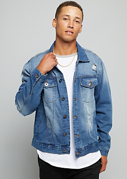 Medium Wash Sandblasted Distressed Denim Jacket