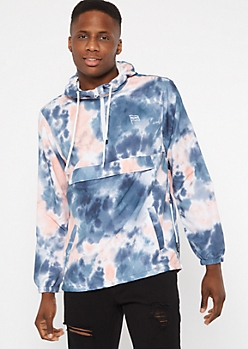 Pastel Tie Dye Brooklyn Embroidered Windbreaker