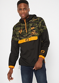 Camo Print See The World Graphic Windbreaker