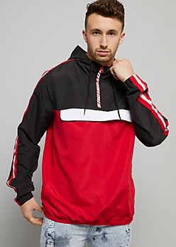 Red Colorblock Striped Savage Pullover Windbreaker