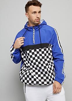Blue Checkerboard Striped Savage Pullover Windbreaker