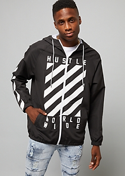 Black Hustle World Wide Windbreaker