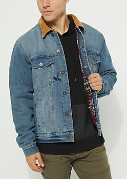 Light Blue Lined Distressed Denim Jacket