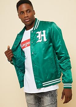Dark Green Hustle Patch Varsity Jacket