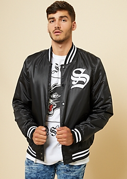 Black Savage Patch Varsity Jacket