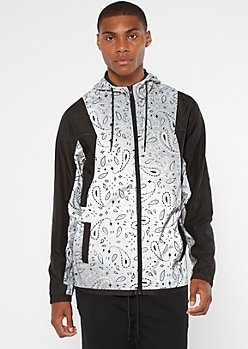 Silver Paisley Print Colorblock Zip Up Windbreaker