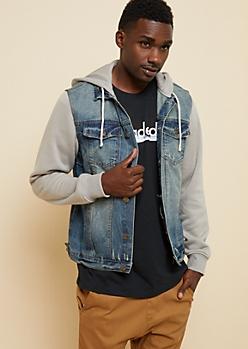 Medium Wash Hooded Jean Jacket