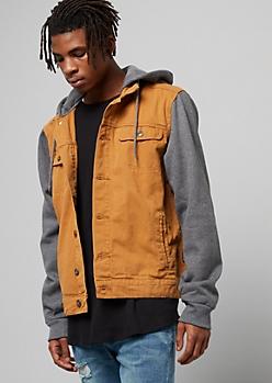 Cognac Wash Fleece Hooded Jean Jacket
