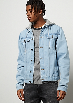 Light Wash Heather Gray Hooded Jean Jacket