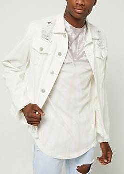 White Destroyed Fraying Denim Jacket