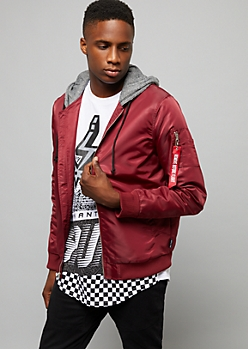 Burgundy Ready For Flight Slick Bomber Jacket