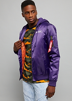 Purple All Seeing Eye Hustle Slick Bomber Jacket
