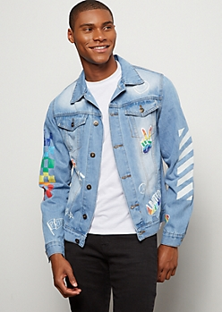 Medium Wash Doodled Pride Jean Jacket