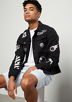 Black Doodled Button Down Graphic Jean Jacket