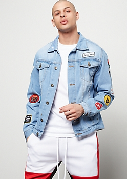 1ef1c4264d8e8 Light Wash New York Patched Jean Jacket