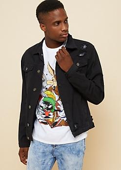 Black Destroyed Jean Jacket